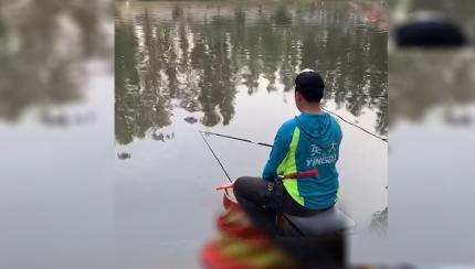 飞3斤的鲤鱼 姿势要标准!